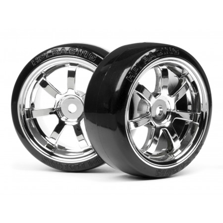T-Drift Tire 26mm w/Rays 57S-Pro Chrome Wheel (2)